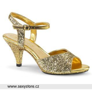 Zlaté sandály na podpatku BEL309G/G/M