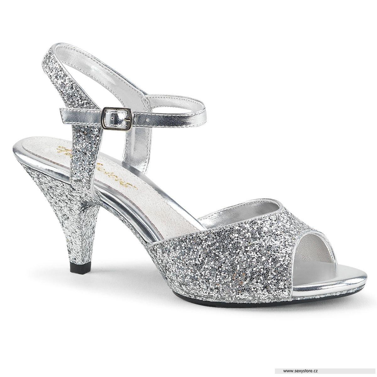 89abbae92d3f Stříbrné sandály na podpatku BEL309G S M