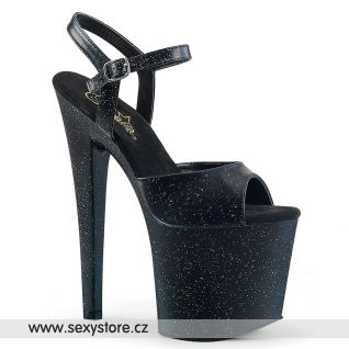Sexy černé boty na extra vysokém podpatku a platformě TABOO-709MMG/BPU/M