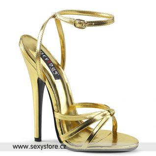 Zlaté erotické sandály na jehle DOM108/GMPU