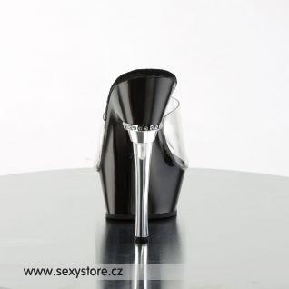 černé pantofle ALLURE-601/C/B na podpatku a platformě