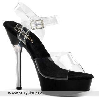 Černé sandály ALLURE-608/C/B na podpatku a platformě