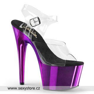 ADO708/C/PPCH fialové taneční sexy boty na vysokém podpatku a platformě