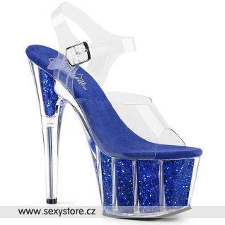 ADO708G/C/RYBLGI Modré sexy boty na vysokém podpatku