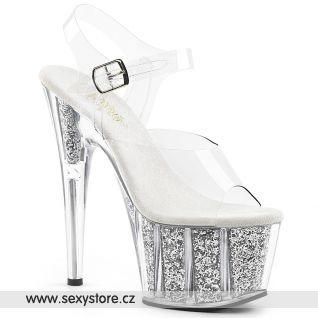 Stříbrné sexy boty na vysokém podpatku ADO708G/C/SGI