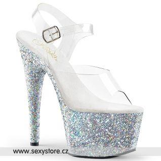 Stříbrné sexy boty ADO708LG/C/SG