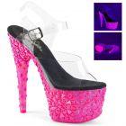ADORE-708NSK ADO708NSK/C/HP Růžové svítící sexy boty s lebkami a kříži
