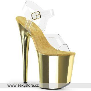 Zlaté sandály extra vysoké podpatky FLAMINGO-808 FLAM808/C/GCH