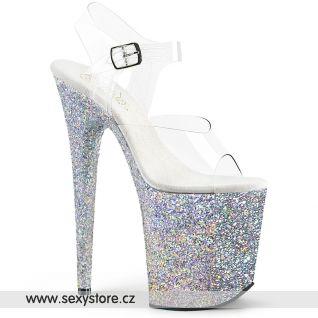 Stříbrné boty na extra vysokém podpatku FLAMINGO-808LG FLAM808LG/C/SG