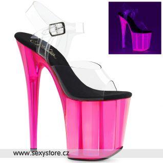 Svítící růžové sexy boty na extrémním podpatku FLAMINGO-808UVT FLAM808UVT/C/HP