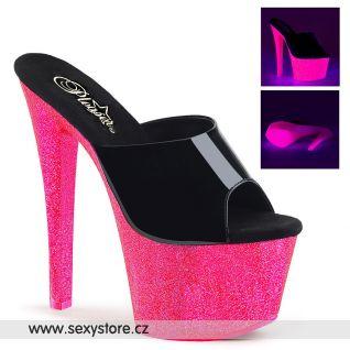 SKY301UVG/B/NHPG sexy pantofle s růžovým svítícím podpatkem